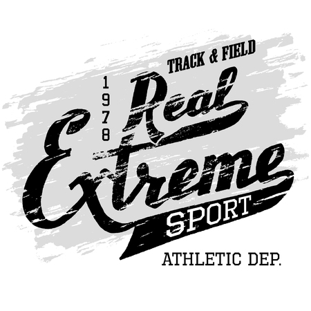 athletic: Real extreme sport. Athletic t-shirt hand-drawn typography grunge design. Hand lettering label isolated on white background