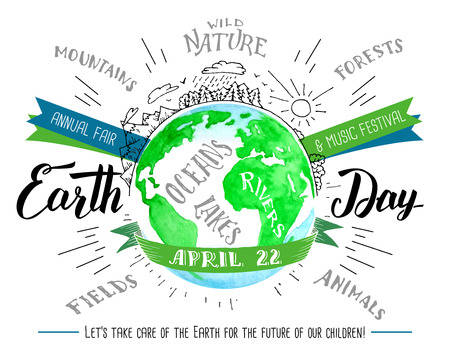 Earth Day holiday. Modern calligraphy holiday card. Brush handwritten inscriptions and line drawings with watercolor image of the planet Earth isolated on white background