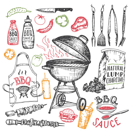 Barbecue hand drawn elements set in sketch style isolated on white background. Tools and foods for bbq party Vettoriali