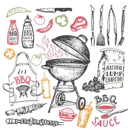 Grill ręcznie rysowane elementy zestawu w stylu szkicu na białym tle. Narzędzia oraz żywność dla partii grilla