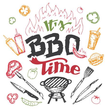 Het is barbecue tijd. Hand getekende bbq elementen in schetsstijl geïsoleerd op een witte achtergrond