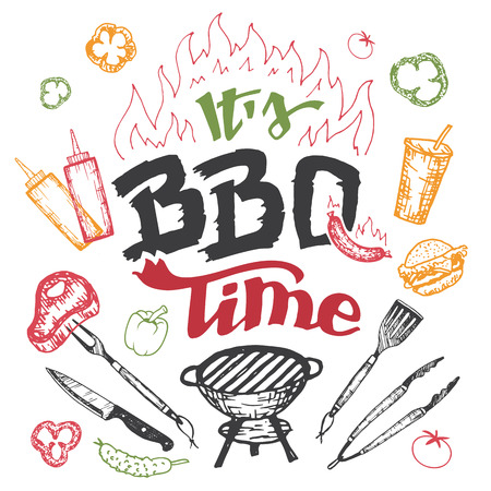 Its barbecue time. Hand drawn bbq elements set in sketch style isolated on white background