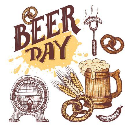 comida alemana: letras de mano del d�a de la cerveza. dibujado a mano elementos fijados en el estilo de dibujo. comida y cerveza alemanas s�mbolos aislados sobre fondo blanco. Oktoberfest taza de cerveza con la salchicha, el pretzel y el barril de cerveza