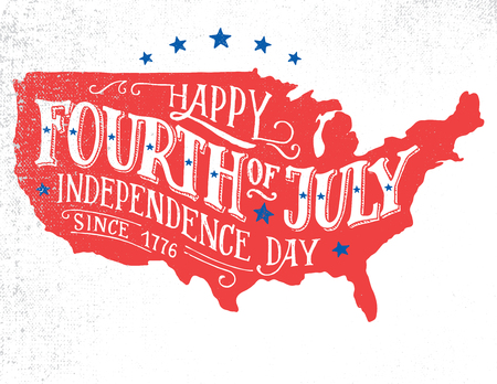 Happy Fourth of July. Independence day of the United States, 4th of July. Happy Birthday America. Hand-lettering greeting card on textured sketch of silhouette US map. Vintage typography illustration Vettoriali