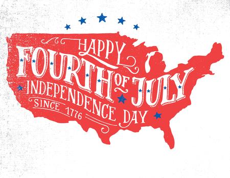 Glückliches Viertel von Juli. Tag der Unabhängigkeit der Vereinigten Staaten, 4. Juli. Alles Gute zum Geburtstag Amerika. Hand Schriftzug Grußkarte auf strukturierten Skizze Silhouette US-Karte. Jahrgang Typografie Illustration