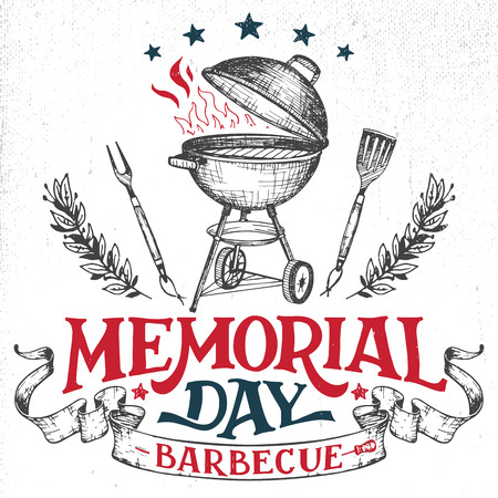 barbecue: Memorial Day barbecue holiday greeting card. Hand-lettering cookout BBQ party invitation. Sketch of barbecue charcoal kettle grill with tools. Vintage typography illustration isolated on white