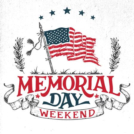 fin de semana: tarjeta de felicitación de fin de semana del Memorial Day. Mano-letras invitación del partido. Bosquejo de la bandera americana pattic y la cinta. Ilustración de la tipografía de la vendimia aislado en el fondo blanco