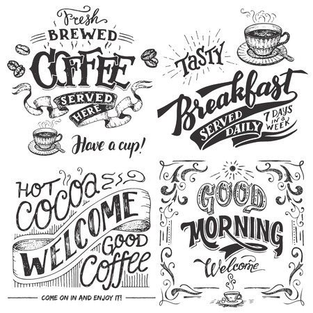 Fresh brewed coffee served here. Tasty breakfast served daily. Hot cocoa and good coffee welcome sign. Good morning cafe sign. Hand lettering with sketches. Vintage typography for cafe or restaurant Vectores
