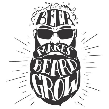 Piwo sprawia broda rośnie. Oktoberfest ilustracja brodatego mężczyzny na białym tle. Brodaty miłośnikiem piwa. T-shirt druku lub pub plakat