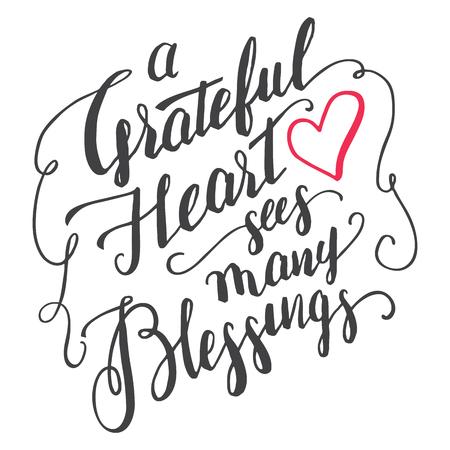 Un corazón agradecido ve muchas bendiciones. cepillo de agradecimiento cita de la caligrafía para tarjetas de felicitación y carteles. agradecimiento escrita a mano aislado en el fondo blanco