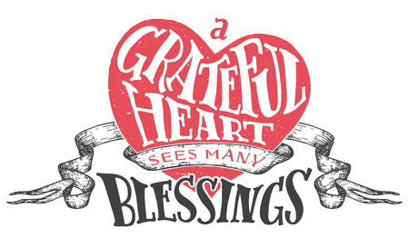 blessings: A grateful heart sees many blessings. Gratitude hand lettering quote with heart shape background. Handwritten thankfulness isolated on white background