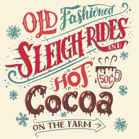 gite in slitta vecchi stile e cioccolata calda in azienda. Hand-lettering carta di invito. Mano tipografia disegnato con una tazza di cioccolata calda. intrattenimenti invernali