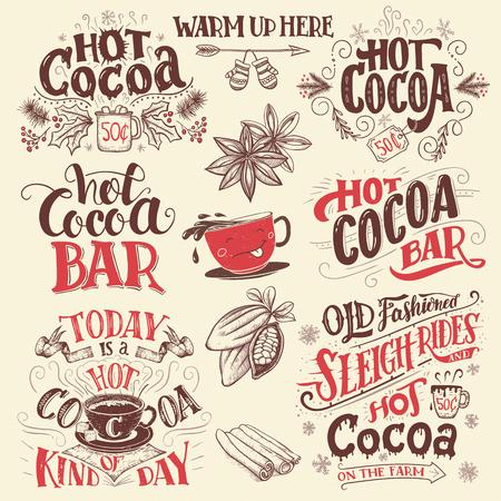 cacao chaud écriteaux lettrage à la main définies. barre de chocolat chaud. Cocoa tasse de personnage de dessin animé. Main signes dessinés pour café, un bar et un restaurant