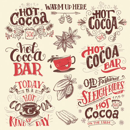 Hot cocoa hand lettering signboards set. Hot cocoa bar. Cocoa cup cartoon character. Hand drawn signs for cafe, bar and restaurant Vettoriali