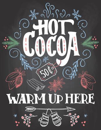 Warme chocolademelk, warm hier omhoog. Hand belettering schoolbord teken. Kerstmis teken op bord achtergrond met krijt voor cafe en cacao bar. Kerstmis reclame warme chocolademelk drinken met prijskaartje