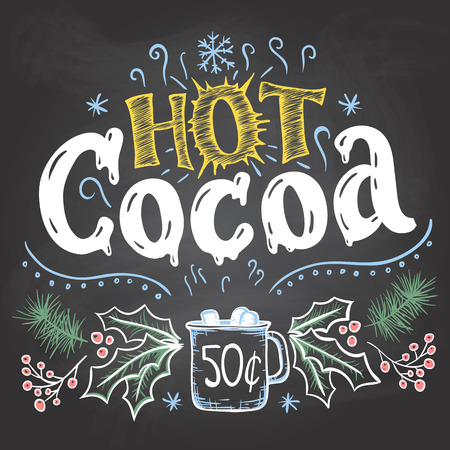 Hot cocoa. Hand lettering chalkboard sign. Christmas sign on blackboard background with chalk for cafe and cocoa bar. Christmas advertising of hot cocoa drink with a mug and price