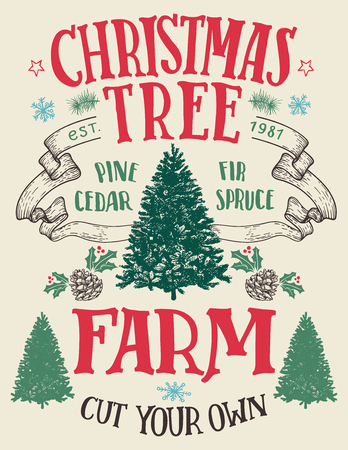 Kerstboomboerderij, snijd je eigen. Met de hand van letters voorzien uitstekend teken met hand-drawn Kerstmisbomen