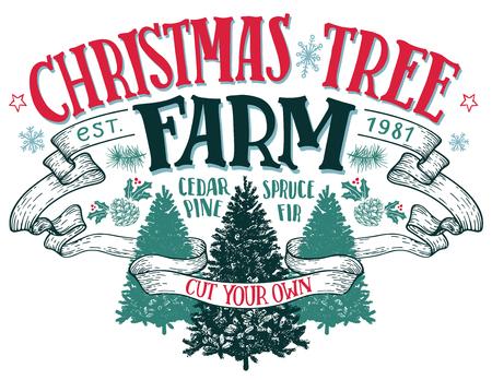 Kerstboomboerderij, snijd je eigen. Hand-van letters voorzien uitstekend teken met hand-drawn Kerstmisbomen die op witte achtergrond worden geïsoleerd Stock Illustratie