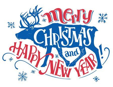 Vrolijk kerstfeest en een gelukkig nieuwjaar. Vakantie hand-belettering met een silhouet van rendieren. Uitstekende typografie die op witte achtergrond wordt geïsoleerd