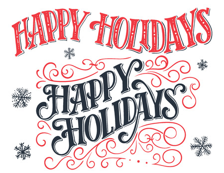 Happy holidays. Vintage hand-lettering set. Hand-drawn typography collection isolated on white background Ilustração