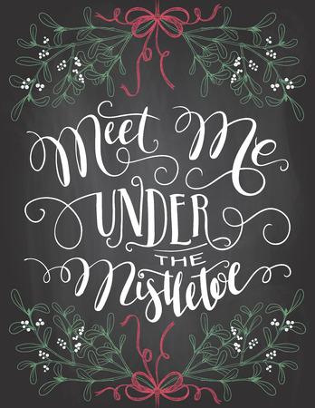 Meet me under the mistletoe. Brush calligraphy on blackboard with chalk. Christmas chalkboard typography