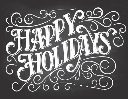 Fijne vakantie. Vintage hand lettering op schoolbord met krijt. Kersttypografie
