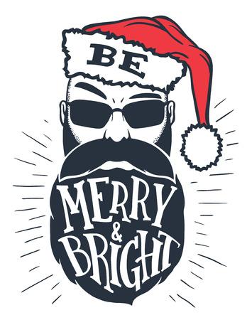 Wees vrolijk en helder. Hand belettering op een bebaarde man met een kerstmuts op zijn hoofd. Kerstmistypografie met een tekening op witte achtergrond wordt geïsoleerd die