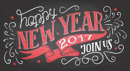Ga met ons mee voor een nieuwjaarsfeest. Vakantie hand-belettering chalkbaord uitnodiging. Handgetekende typografie op schoolbord achtergrond met krijt