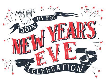 Ga met ons mee voor een nieuwjaarsfeest. Vakantie hand-belettering uitnodiging. Handgetekende typografie geïsoleerd op een witte achtergrond