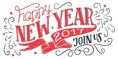 Gelukkig Nieuwjaar 2017, doe met ons mee. Vakantie hand-belettering uitnodiging. Handgetekende typografie geïsoleerd op een witte achtergrond