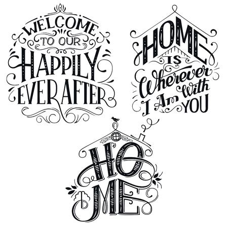 Home decor citaten tekenen set geïsoleerd op een witte achtergrond. Hand-lettering, rustieke borden