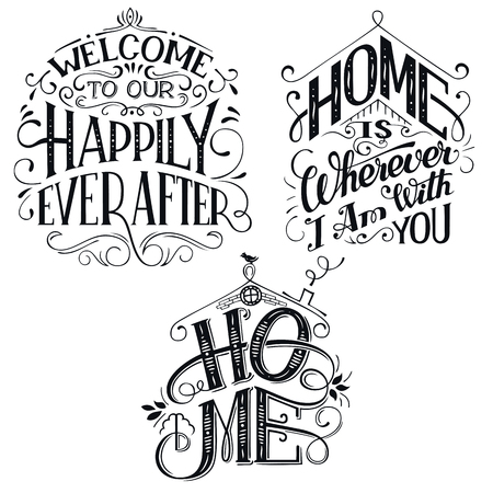 Home decor quotes signs set isolated on white background. Hand-lettering, rustic signs Ilustração