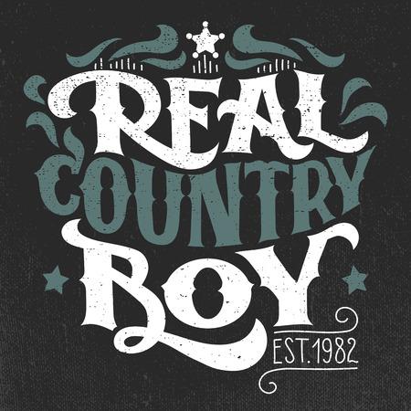 Echte land jongen. T-shirt, poster hand-lettering grunge ontwerp Stock Illustratie