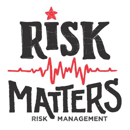 Risico is belangrijk. Conceptuele hand-belettering illustratie. Risicobeheer in het bedrijfsleven, de geneeskunde en de handel. Embleem typografie ontwerp geïsoleerd op een witte achtergrond Stock Illustratie