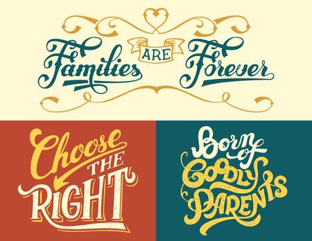 Gezinnen zijn voor altijd, geboren uit goede ouders, kies het goede. Familiecitaten instellen. Handschrift voor huisdecoratie of T-shirts Stock Illustratie