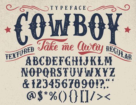 Cowboy, carattere regolare retro-strutturato a mano artigianale. Archivio Fotografico - 75507120