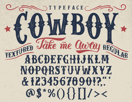 Cowboy, handcrafted retro textured regular typeface. 向量圖像
