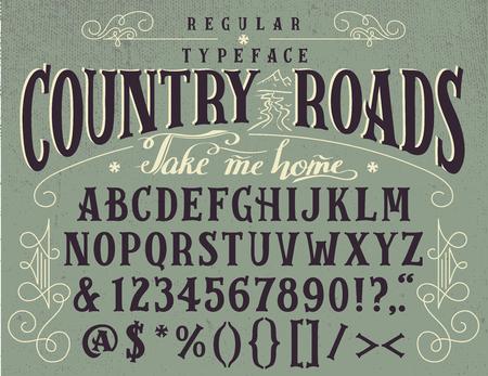 Country roads, handcrafted retro regular typeface. Ilustração