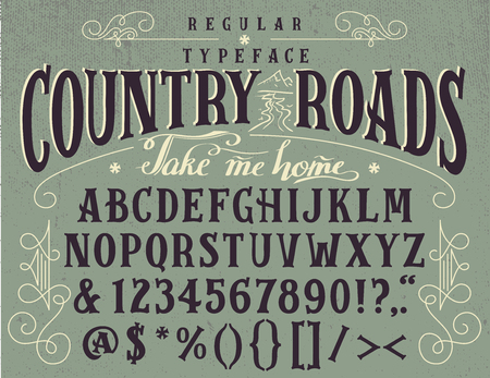 country roads: Country roads, handcrafted retro regular typeface. Illustration
