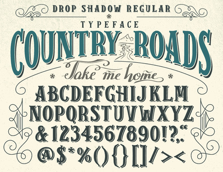 country road: Country roads, take me home. Handcrafted retro drop shadow regular typeface. Vintage font design, handwritten alphabet