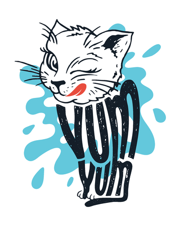 Cute kitten says yum yum. Illustration of a licking cat with hand lettering on a splashing milk background Ilustração