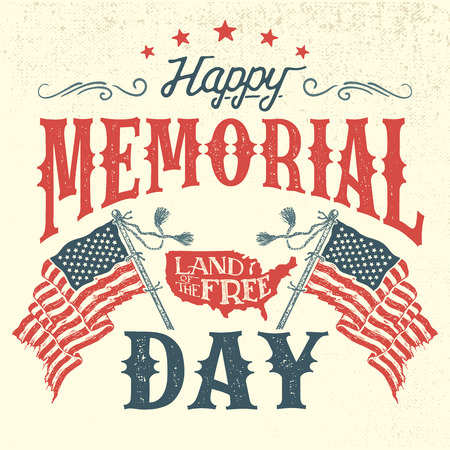 Happy Memorial Day greeting card. Hand-lettering party invitation. Sketch of american patriotic flags and country. Vintage typography illustration Stock Vector - 76041732