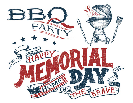 Memorial Day barbecue party greeting card. Hand lettering cookout BBQ party invitation. Sketch of barbecue charcoal kettle grill with tools. Vintage typography illustration isolated on white Illustration
