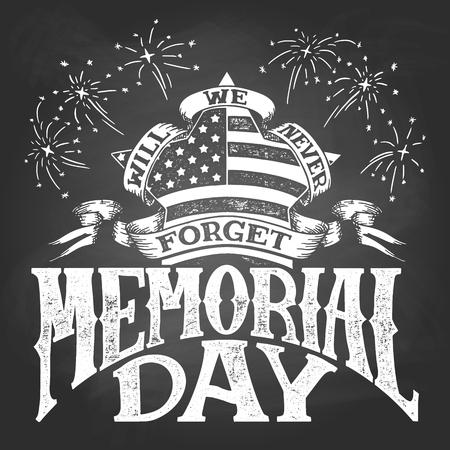 Memorial Day. Hand lettering chalkboard illustration. Ilustração