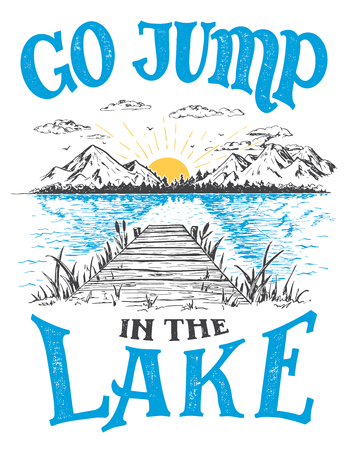 Go jump in the lake. Lake house decor sign in vintage style. Lake sign for rustic wall decor. Ilustração
