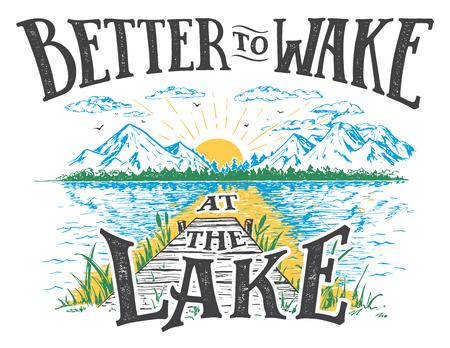 Lepiej obudzić się nad jeziorem. Znak wystrój domu nad jeziorem w stylu vintage. Znak jeziora na rustykalne dekoracje ścienne. Ilustracje wektorowe