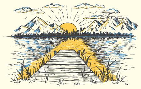 Opkomende zon op het meer, landschap met een brug. Handgetekende vintage illustratie. Schets in retro stijl