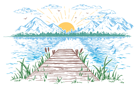 Rising sun on the lake, landscape with a bridge. Hand-drawn vintage illustration.