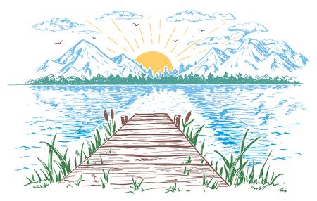 Steigende Sonne auf dem See, Landschaft mit einer Brücke. Handgezeichnete Vintage Illustration. Standard-Bild - 77602352
