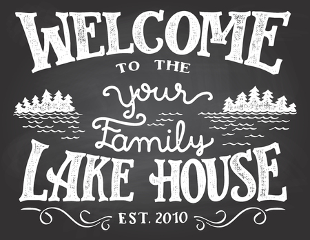 Welcome to the your family lake house chalkboard sign. Replace YOUR with the surname you need.
